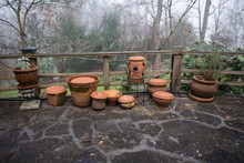 Clay Pots On A Stone Patio
