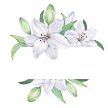 Frame Of White Lilies. Waterco...