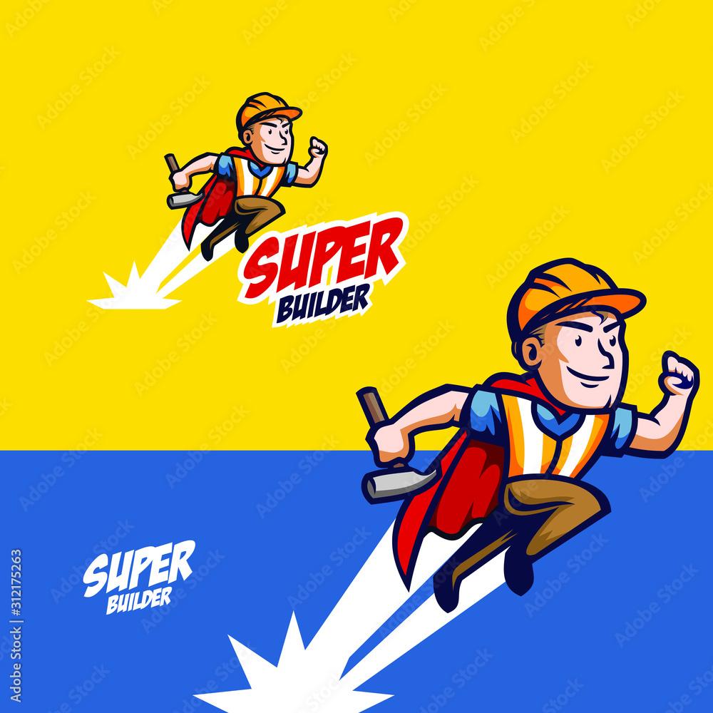 Fototapeta superhero repairman with vintage retro style mascot logo