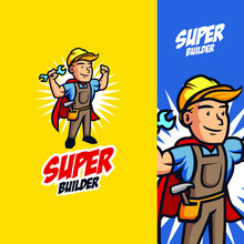 Super Handyman Mascot Logo With Vintage Retro Style