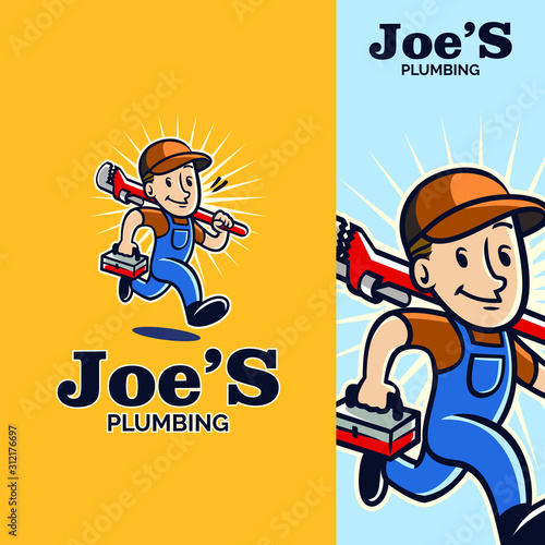 Tela  plumber mascot holding a pipe wrench mascot logo with vintage retro style