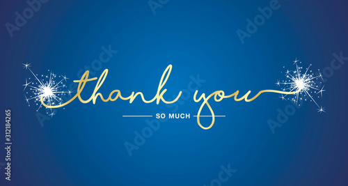 Photo Thank You handwritten lettering tipography sparkle firework gold white blue back