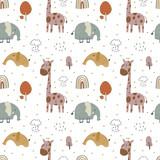 Fototapeta Fototapety na ścianę do pokoju dziecięcego - giraffe and  elephant baby cute seamless pattern