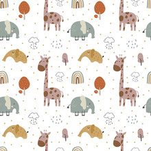 Giraffe And  Elephant Baby Cute Seamless Pattern