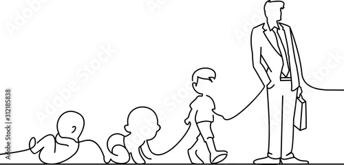 Fotografie, Tablou human changes from the stomach to adulthood vector illustration