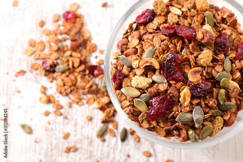 Stampa su Tela granola with nut, goji berry, seed and cereal