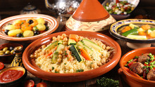 Assorted Of Traditional Moroccan Tajine With Dried Fruits And Spices