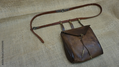 Photo anglo saxon leather bag reconstruction by daegrad tools