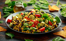 Mexican Salad With Avocado, Bl...