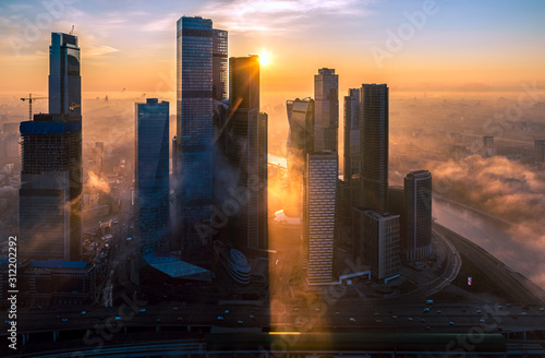 A aerial view of towers of the Moscow International Business Centre also known as Moscow City at dawn. - 312202292