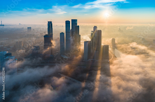 фотография A aerial view of towers of the Moscow International Business Centre also known as Moscow City at dawn