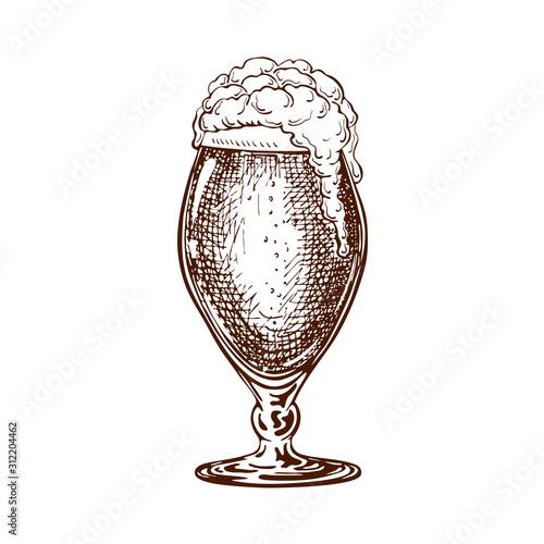 Photo vector hand drawn tulip beer glass full of dark beer with liquid foam