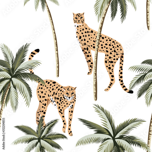 Cheetah and tropical palm trees seamless pattern. Exotic jungle wallpaper. Wall mural