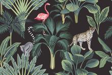 Tropical Vintage Wild Animals, Flamingo, Palm Trees, Banana Tree Floral Seamless Pattern Dark Background. Exotic Botanical Jungle Wallpaper.