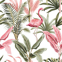 Tropical Vintage Pink Flamingo, Banana Trees And Plants Floral Seamless Pattern White Background. Exotic Jungle Wallpaper.