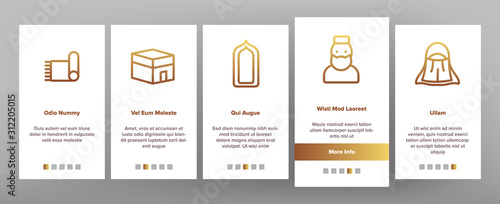 Islam Religion Arab Onboarding Mobile App Page Screen Vector Canvas Print