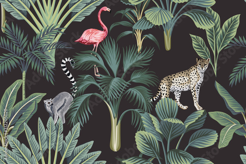 фотография Tropical vintage wild animals, flamingo, palm trees, banana tree floral seamless pattern dark background