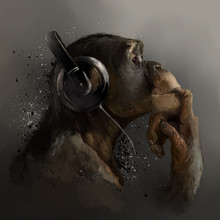 Chimpanzee Listening To Music. Watercolor Drawing