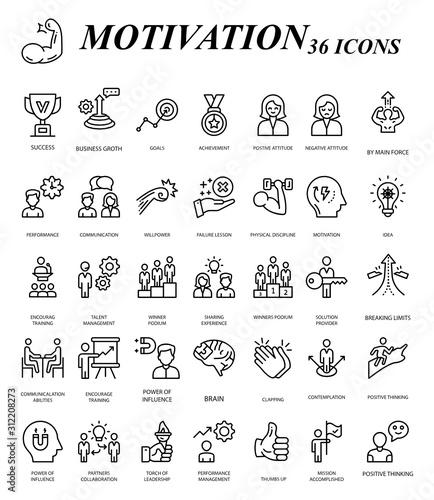 Cuadros en Lienzo Goal and Motivation Vector Icon Set Design, Business Plan Accomplishment 36 Vect