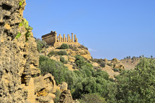 Ruins Of The Temple Of Hera Lacinia, Or Juno Lacinia, Otherwise Known As Temple D, In The Valle Dei Templi (Valley Of Temples) In Agrigento, Sicily, Italy. Picture Shot From Distance