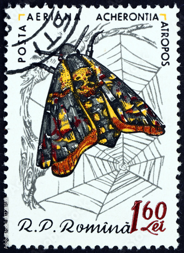 Postage stamp Romania 1960 Death's-head hawkmoth Canvas Print