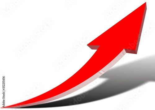 Fotomural 上昇する抽象的な赤い矢印