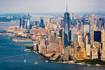 Obraz na Szkle Optyczne powiększenie View of New york skyline from Helicopter tour around Manhattan , New york city