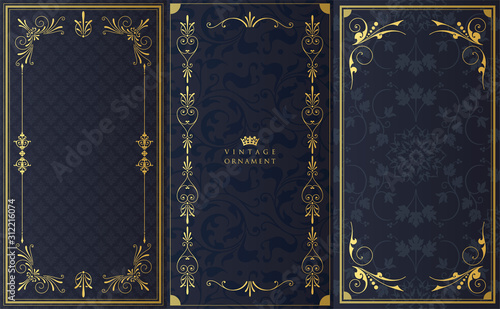 vintage background with golden ornament Canvas Print