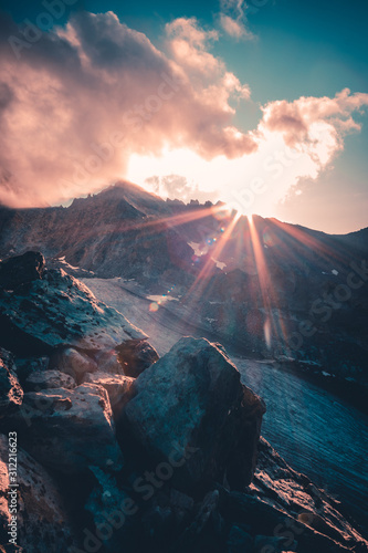 Photo italy alps awesome cloudy sunset view