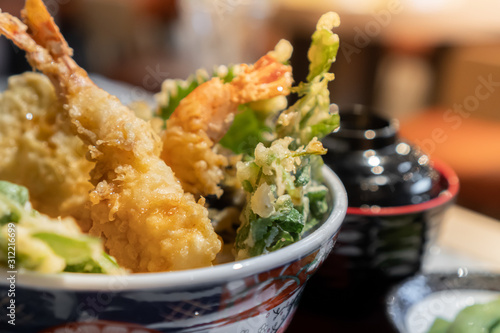 Japanese dish, Tendon or Mixed Tempura is consist of seafood and vegetables that Wallpaper Mural