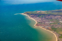 Aerial View Of Pevensey Bay, Eastbourne And Beachy Head, South England