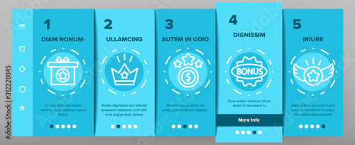 Fototapeta Bonus Loyalty Onboarding Mobile App Page Screen Vector. Dollar Mark On Rocket, Coins And Credit Card, Present Box And Crown Bonus Illustrations obraz