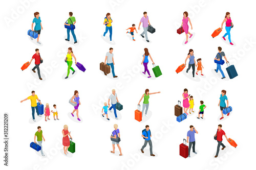 Fototapeta Isometric Tourism and Booking App concept. Travel equipment and luggage on a mobile laptop touch screen. Travel and tourism background. obraz