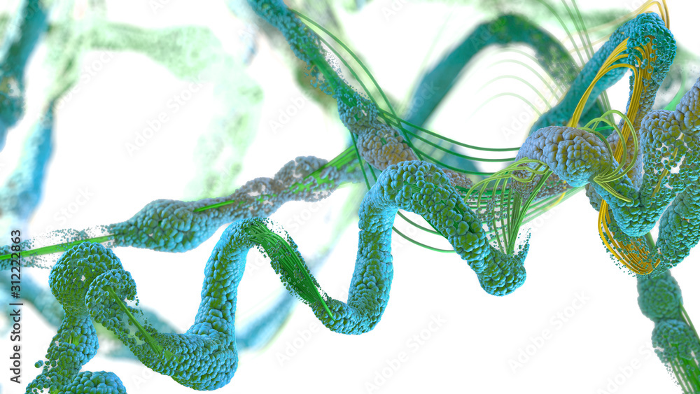 Fototapeta Chain of amino acid or biomolecules called protein - 3d illustration