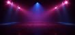 canvas print picture - Neon Retro Brick Walls Club Mist Dark Foggy Empty Hallway Corridor Room Garage Studio Dance Glowing Blue Purple Spot Lights Concrete Floor 3D Rendering