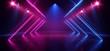 canvas print picture - Stage Neon Lasers Glowing Sci Fi Retro Blue Purple Construction Dance Floor Club Dark Night Empty Hallway Tunnel Garage Underground Cyber 3D Rendering