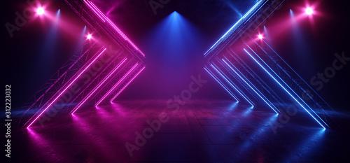 Fototapeta Stage Neon Lasers Glowing Sci Fi Retro Blue Purple Construction Dance Floor Club Dark Night Empty Hallway Tunnel Garage Underground Cyber 3D Rendering obraz
