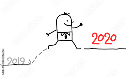 HAPPY CATOON BUSINESSMAN JUMPING TO 2020 LEVEL Canvas Print