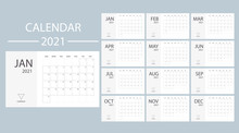 White Calendar 2021 With Week ...