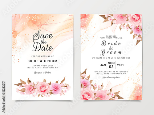 Fotomural  Artistic wedding invitation card template set with flower decorations