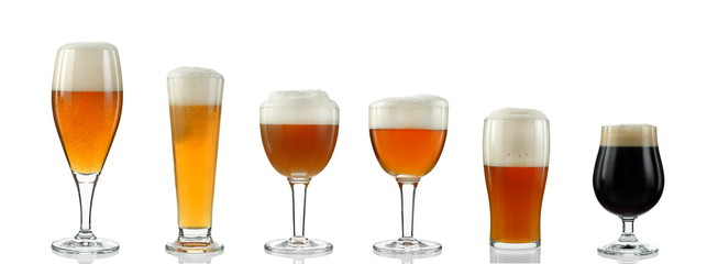 glasses with various types of beer