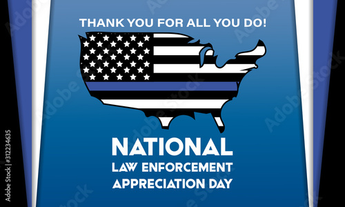 Obraz NATIONAL LAW ENFORCEMENT APPRECIATION DAY (L.E.A.D.). January 9. Poster, card, banner, background, T-shirt design.  - fototapety do salonu
