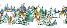 Watercolor Seamless Pattern With Winter Forest And Deers