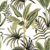 Tropical vintage palm trees, banana tree floral seamless pattern white background. Exotic botanical jungle wallpaper. - 312240601