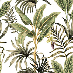 Naklejka Do sypialni Tropical vintage palm trees, banana tree floral seamless pattern white background. Exotic botanical jungle wallpaper.