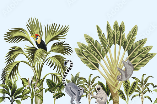 Murale ścienne  tropical-vintage-wild-animals-bird-palm-tree-banana-tree-and-plant-floral-seamless-border-blue-background-exotic-jungle-wallpaper