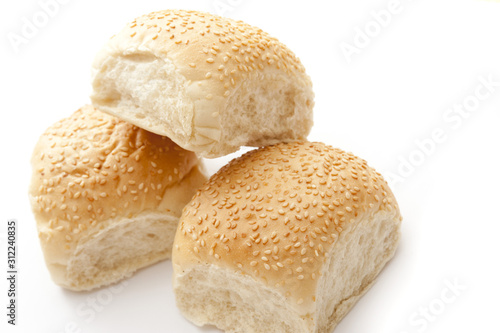White Sesame Bread Rolls on White Background Wallpaper Mural