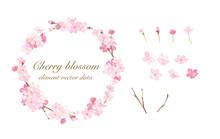 春の花:さくらの丸型フレームとエレメントのセット 水彩イラストのトレースベクター