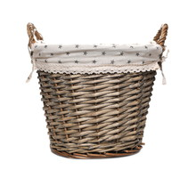 Empty Wooden Wicker Laundry Basket Isolated On White Background