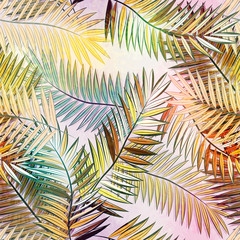 Fototapeta Liście Abstract seamless tropical pattern with beautiful leaves and plants. Jungle print. Floral background. Seamless pattern with colorful leaves and plants.